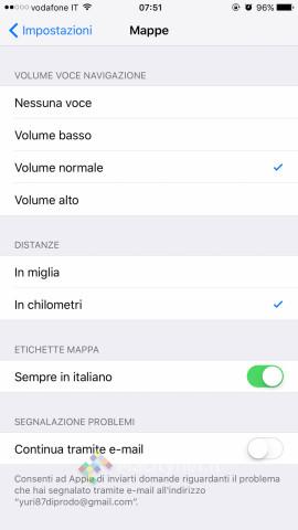 Impostazioni iOS 9