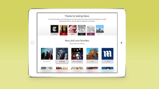 schermata di test di apple news su ipad