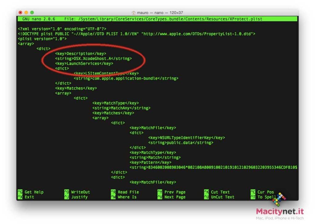 Le stringhe di codice di Xprotect, l'antivirus di serie di macOS