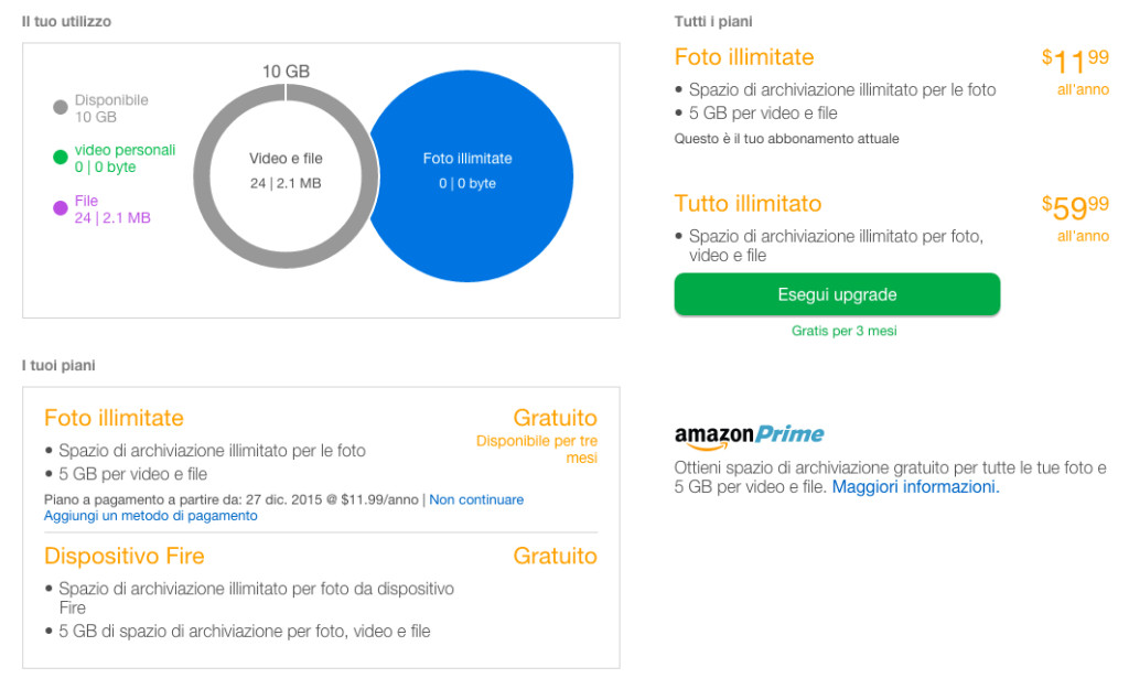 amazon cloud drive opzioni di archiviazione