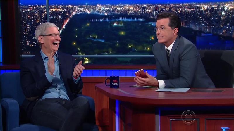 Tim Cook e Stephen Colbert