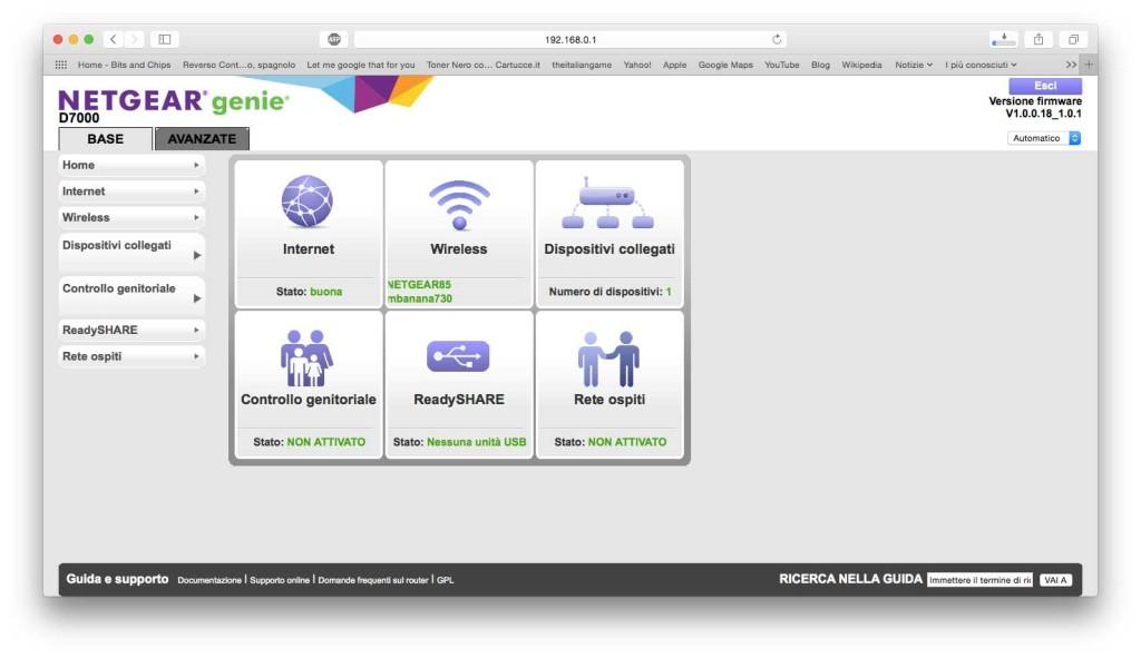 La home page dell'area di amministrazione del modem/router