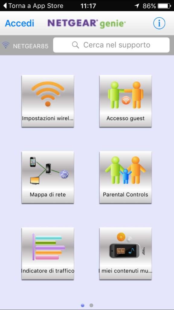 L'app Netgear Genie per iPhone e iPad permette all'amministratore di gestire il router