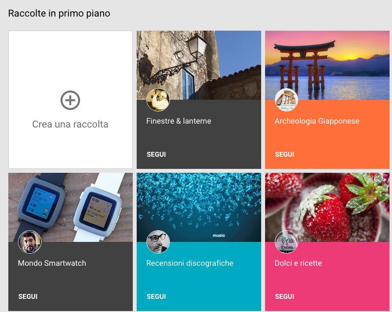 Una schermata delle raccolte in primo piano su Google+