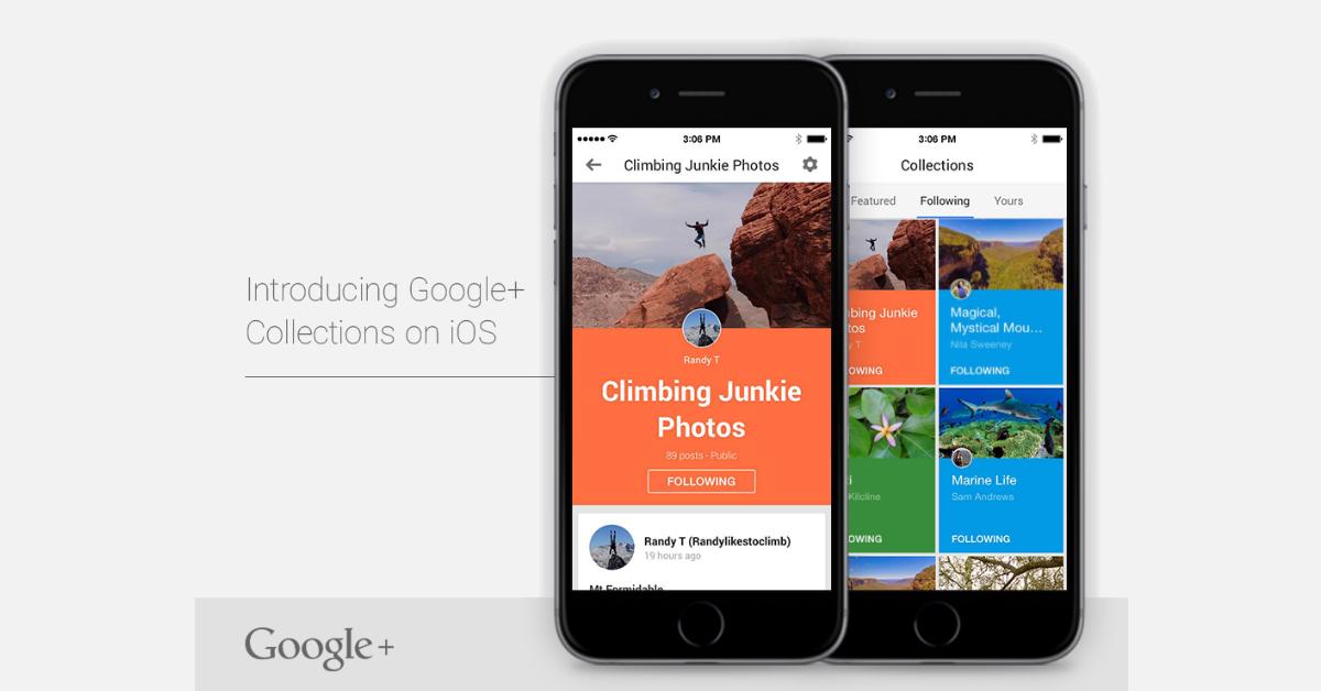 funzionalità raccolte su google+ su iphone e iOS