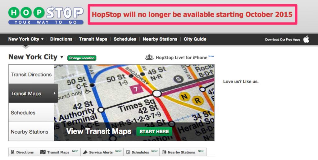 hopstop annuncia chiusura ottobre 2015