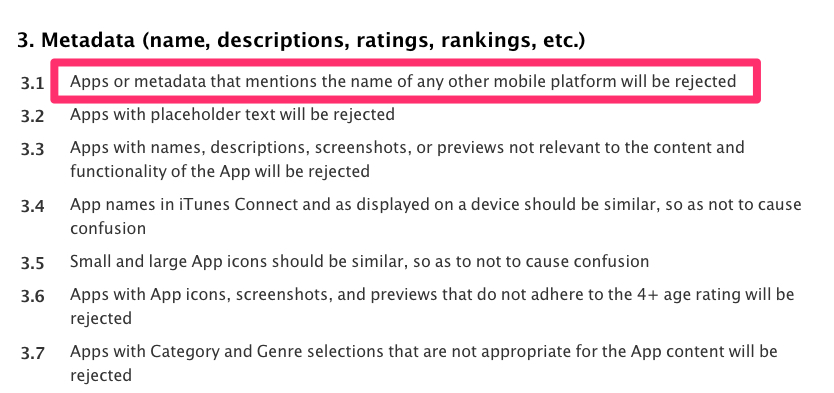 linee guida app store rifiuto altre piattaforme mobili
