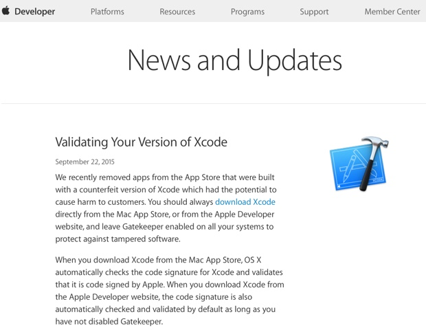 verificare xcode sito apple 620