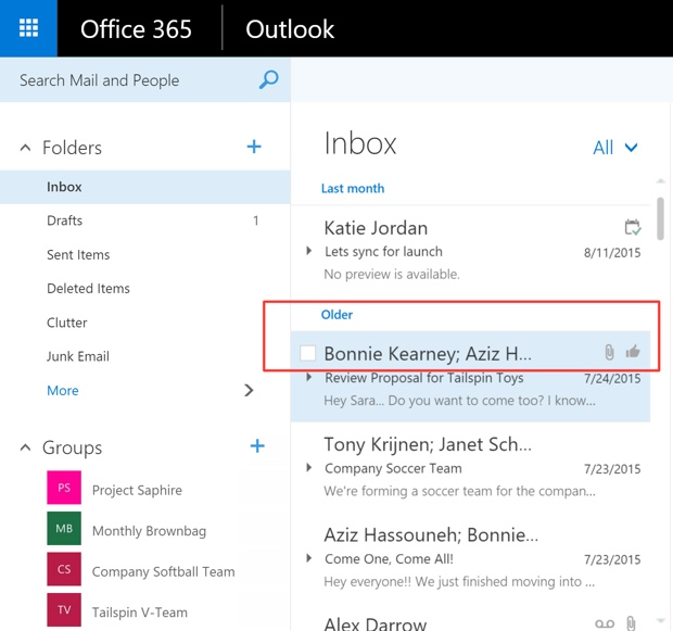 Mi piace e tag in Outlook 620