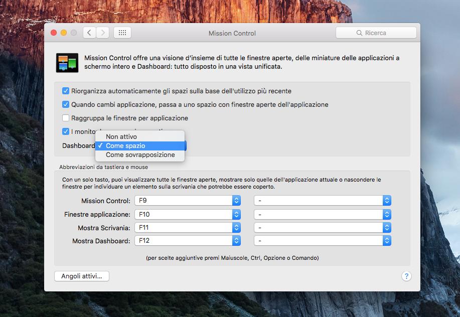 ripristinare la Dashboard in OS X El Capitan