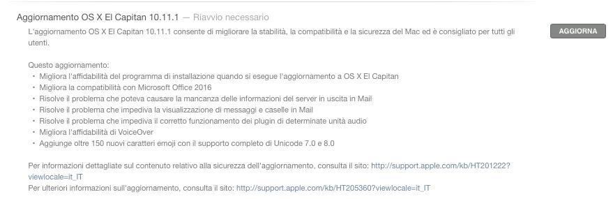 aggiornamento OS X El Capitan 10.11.1