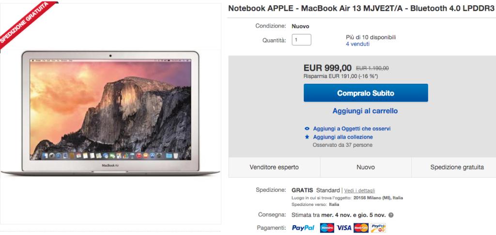 sconto macbook air 13