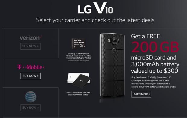 lg v10 620 promo 200GB