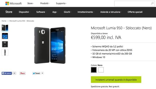 lumia 950 microsoft 620 italia