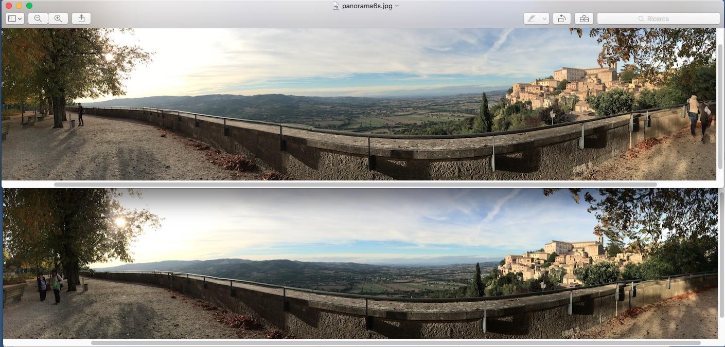 La foto panoramica in alto, realizzata con iPhone 6s ha una gamma tonale più estesa di quella in basso, realizzat con iPhone 5s. Si notino i colori delle nuvole e la città di Todi sulla destra.