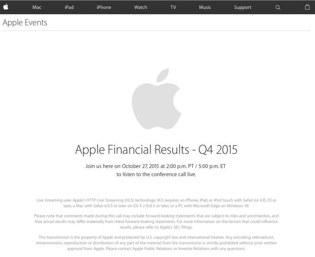 risultati fiscali Apple Q4 2015 620
