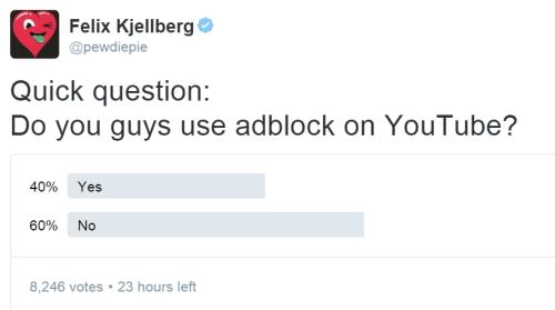 sondaggio di pewdiepie
