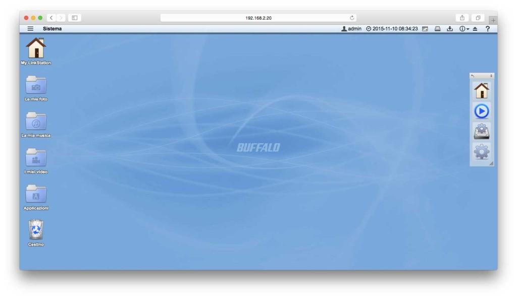 L'interfaccia del web server ricorda un po' OS X