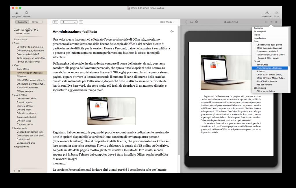 Una piccola anteprima sul nostro libro, dove possiamo vedere le nuove piattaforme di Vellum introdotte con la versione 1.3