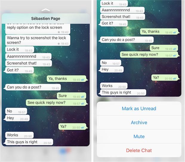 WhatsApp 3d touch 1