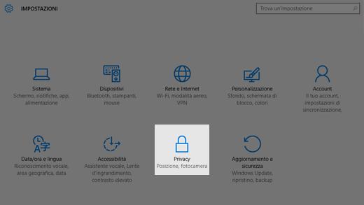 Windows 10 Impostazioni sulla privacy in Windows 10
