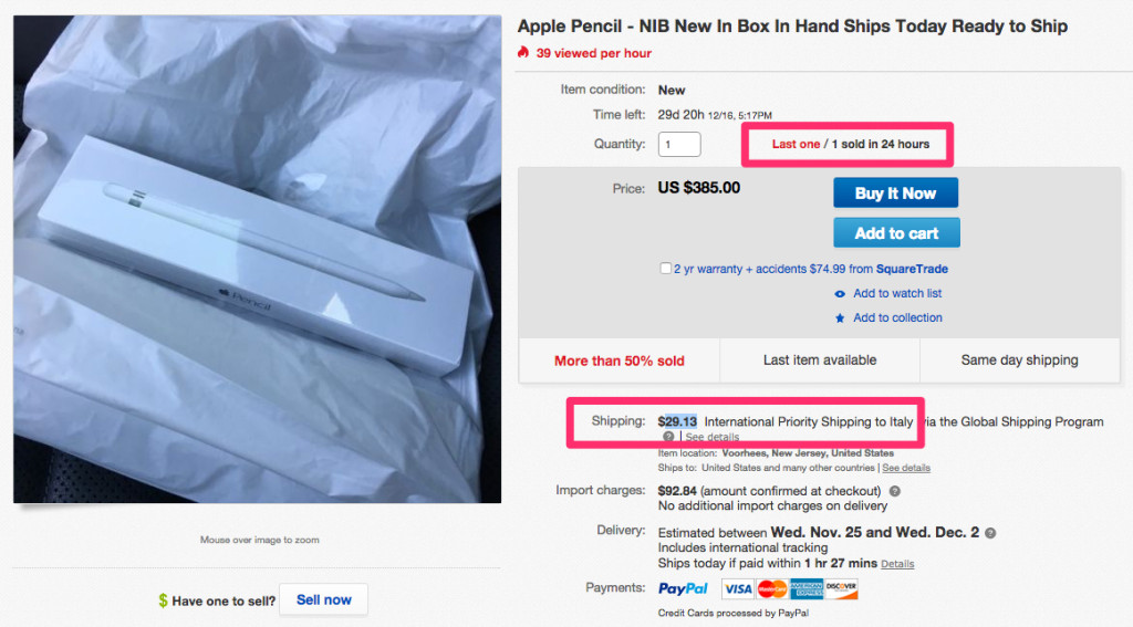 apple pencil su ebay a 400 euro