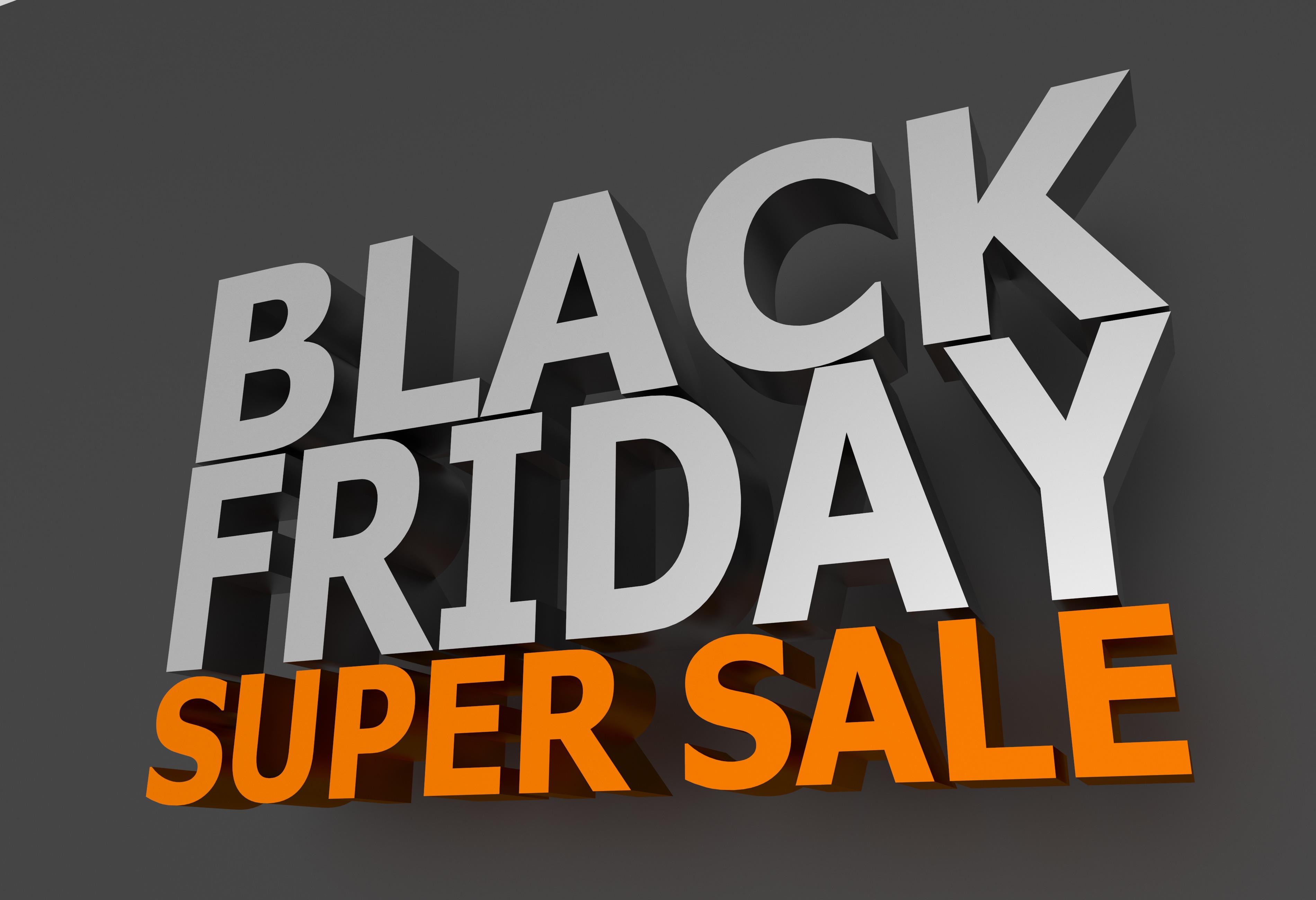 Black Friday Super Sale 3D Lettering on Dark Gray Background. Orange Super Sale Letters. 3D Rendered Illustration.