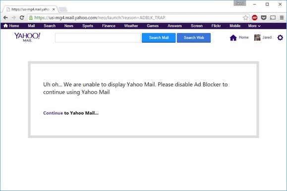 yahoo mail adblock