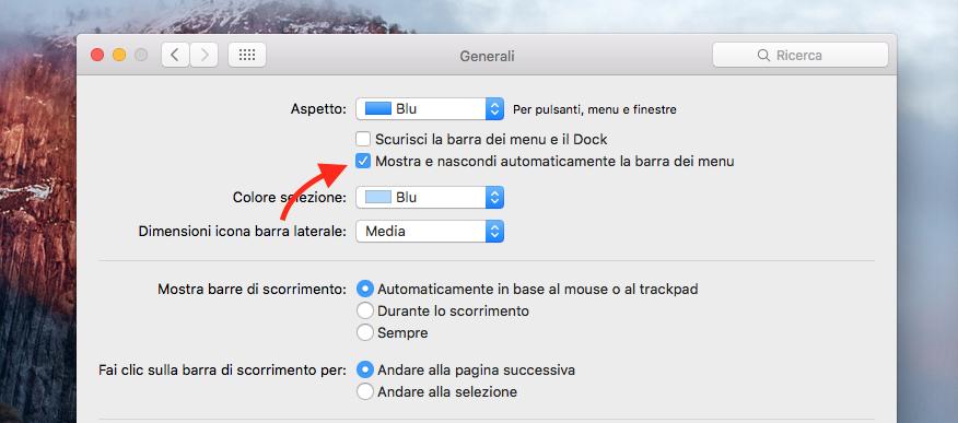 nascondere barra dei menù OS X