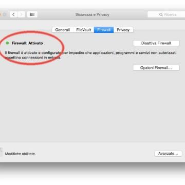 Il firewall integrato di serie in OS X permette di proteggere il Mac da contatti non desiderati avviati da altri computer quando siamo connessi a Internet o a un network