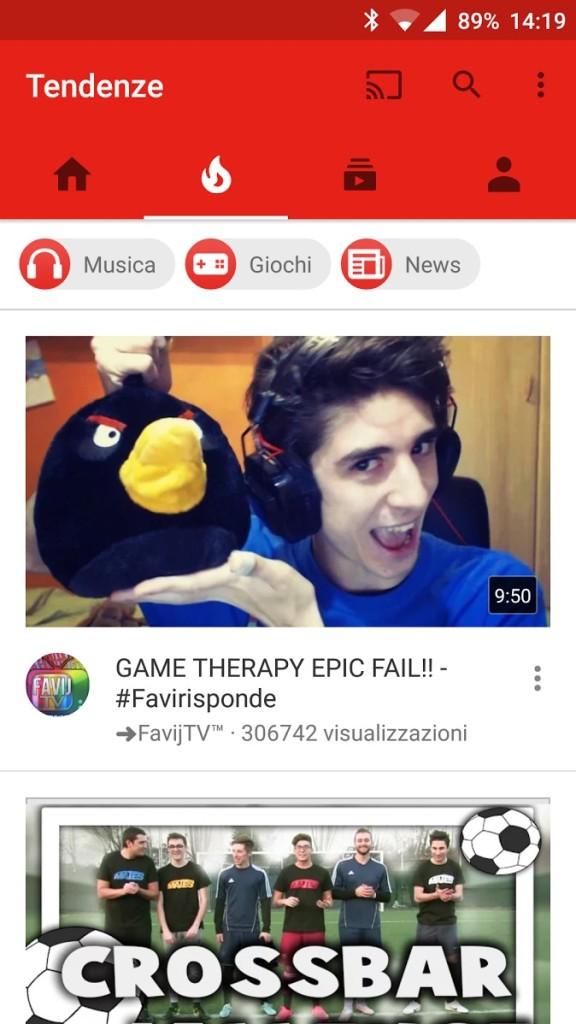 YouTube Tendenze in italia da android