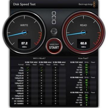 """DiskSpeedTest di astuccio Inateck FE2004 con HDD tradizionale da 2,5"""" 5400RPM"""