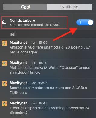 disattivare notifiche OS X El Capitan