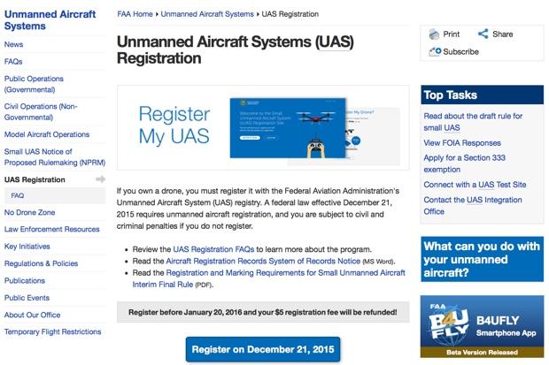 registrazione dei droni USA