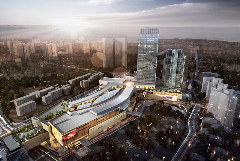 Rendering del centro commerciale MixC di Qingdao (Cina)