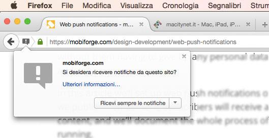 Notifica web push in Firefox