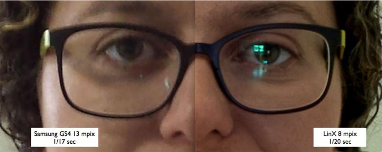 Ritratto ingrandito che dimostra la differenza tra una foto scattata con e senza il sistema dual-camera di LinX Imaging.