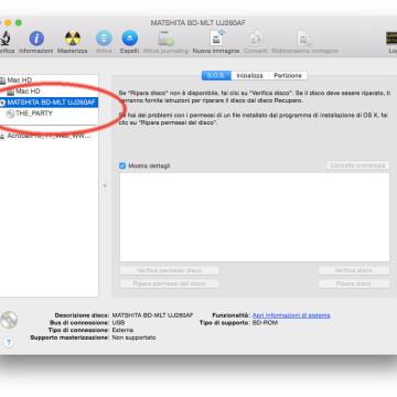 Utility Disco riconosce il masterizzatore Blu-Ray alla stregua di un tradizionale masterizzatore di CD/DVD