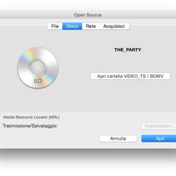 Apertura di un supporto Blu-Ray da VLC