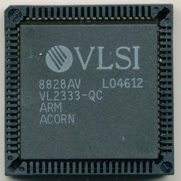 Una foto di un prototipo di ARM1 progettato da ARM e costruito da VLSI