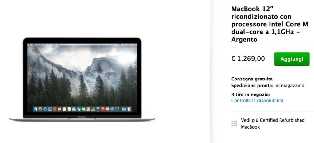 """macbook 12"""" scontato ricondizionati 1200"""