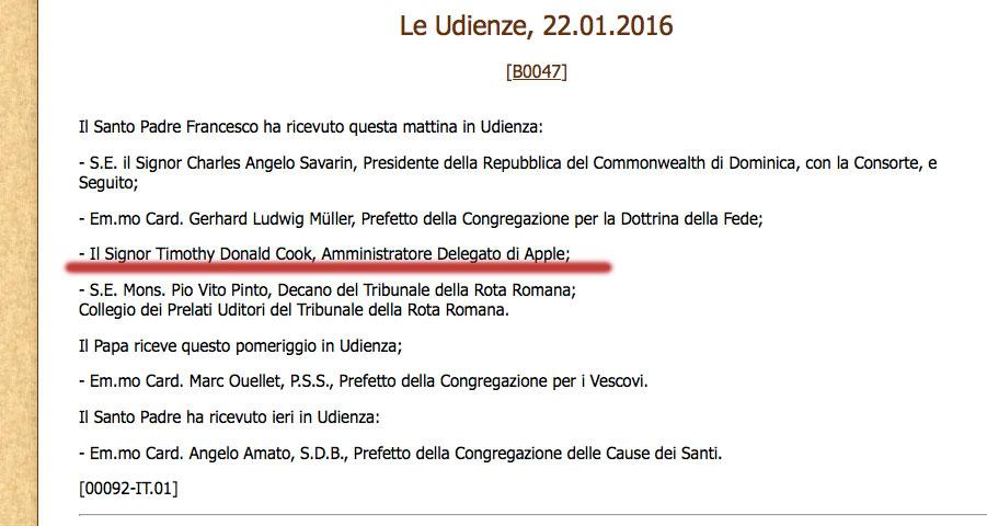 udienza Tim Cook Papa Francesco