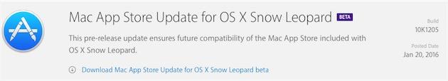 Aggiornamento in beta per il Mac App Store di Snow Leopard