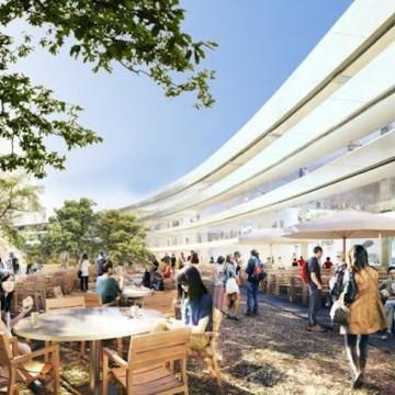 All'interno del campus saranno presenti ampi spazi all'aperto per gli impiegati dove pranzare o rilassarsi.