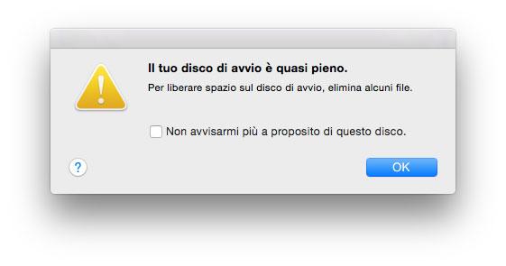 come liberare spazio sul disco mac
