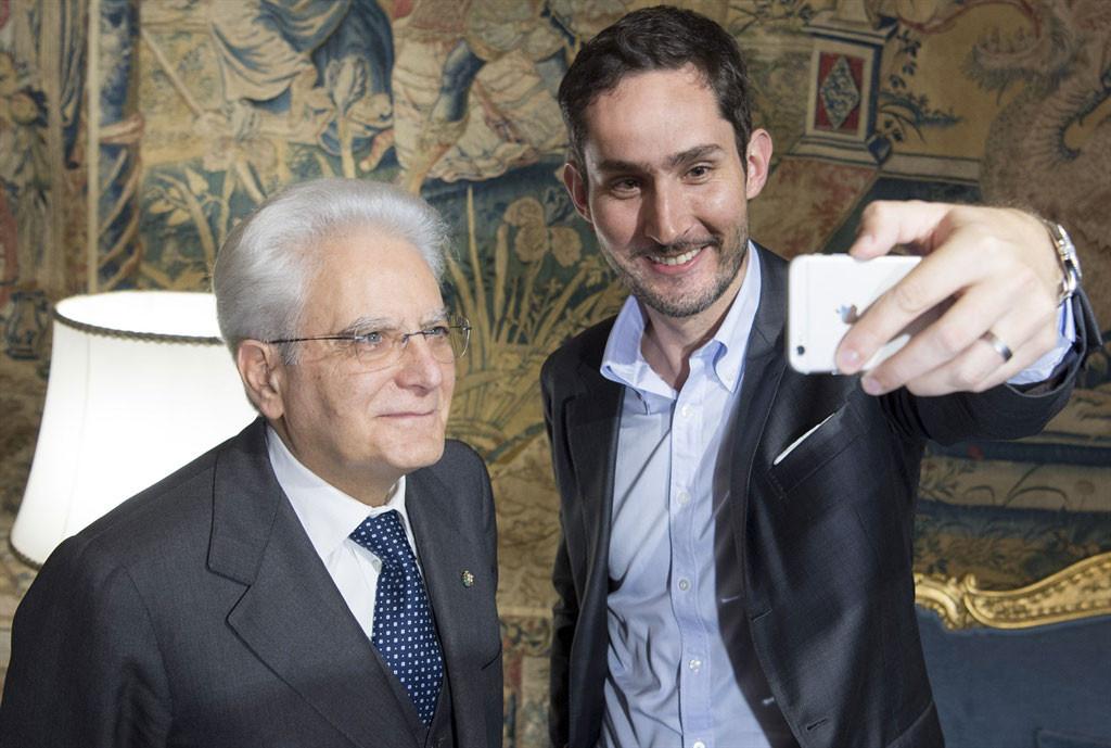 Il Presidente Sergio Mattarella con l'Amministratore Delegato di Instagram Kevin York Systrom