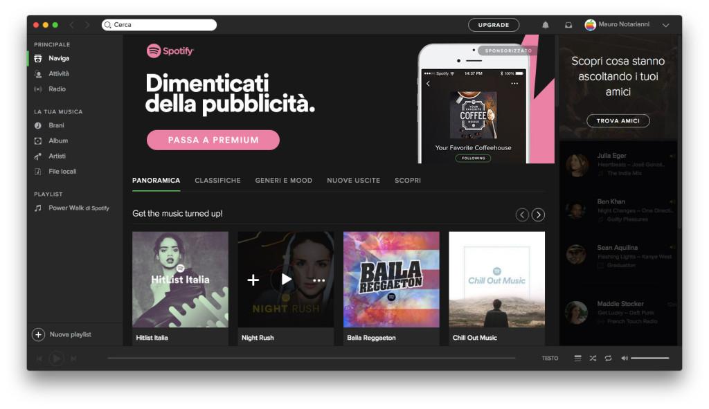 Spotify su mac