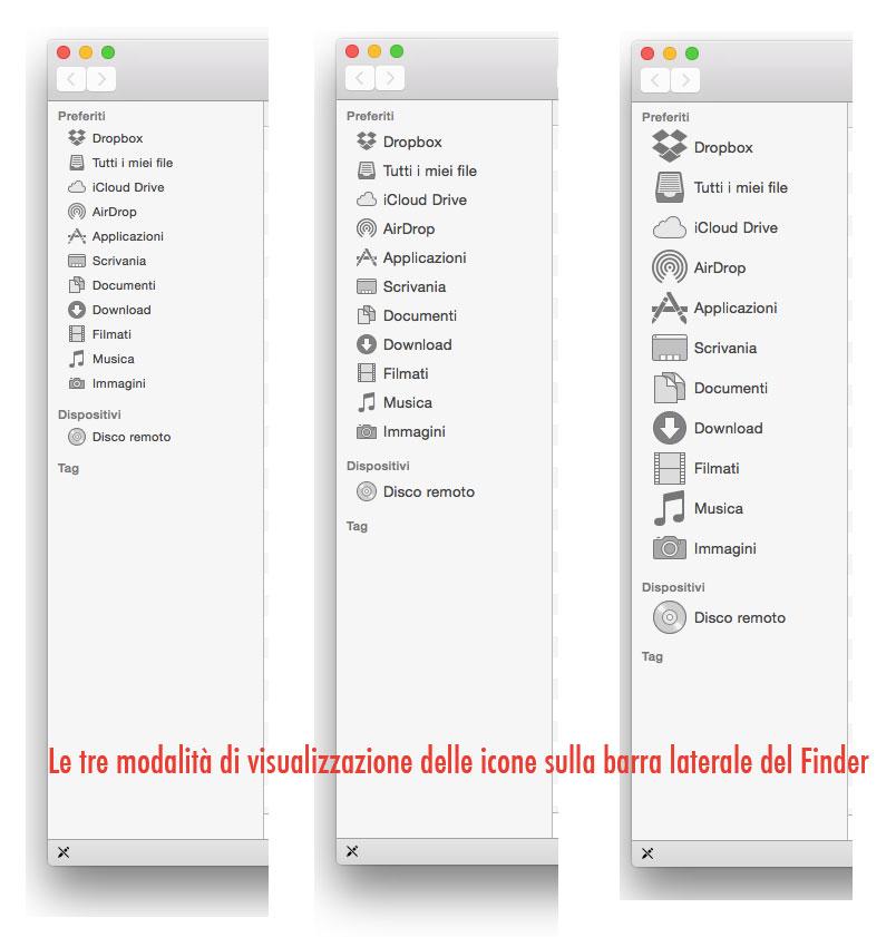Icone nella barra laterale del Finder