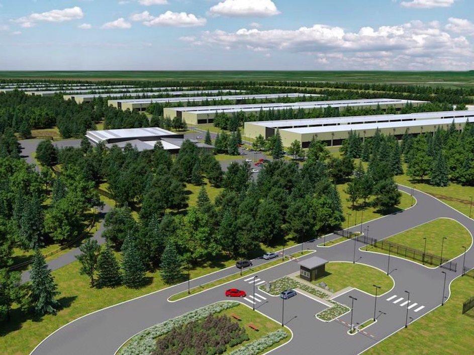 Rendering del data center che dovrebbe nascere nella Contea di Galway (Irlanda)