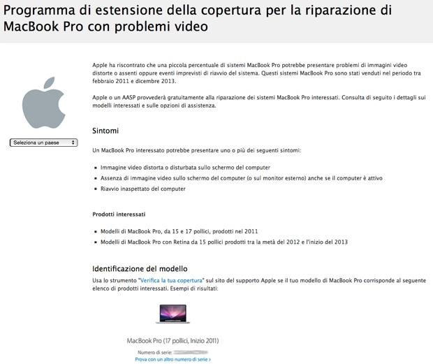 macbook pro con problemi video garanzia apple 620